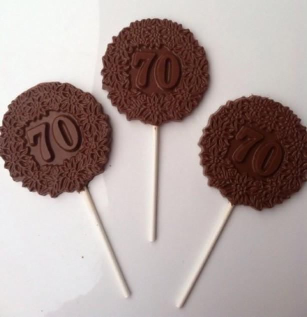 12 70th Birthday Anniversary Chocolate Pops