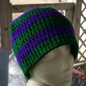 Messy Bun Beanie - Blue and Green