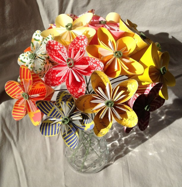 Sunshine Origami Flower Bouquet Aftcra