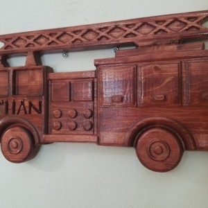 Firetruck Name Sign - 3D V CARVED - Personalized Fire Truck V Carved Wood Sign