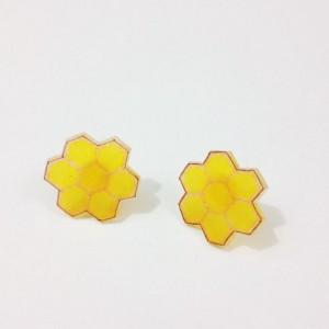 Ear Studs Post Earrings Stud Earrings Honeycomb Honey Comb Geometric Hexagon Honey Bees Affordable Earrings Gift for Nature Lover Honey Gift For Her