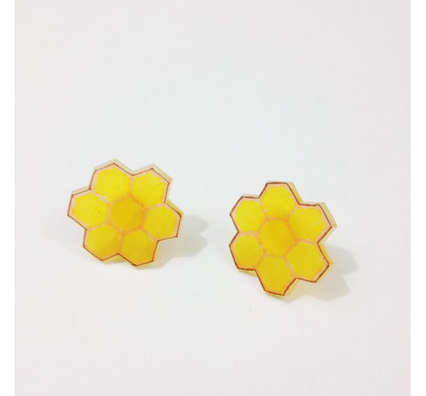 Ear Studs Post Earrings Stud Earrings Honeycomb Honey Comb Geometric Hexagon Honey Bees Affordable Earrings Gift for Nature Lover Honey Gift For Her