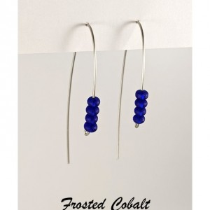 The Sam | handmade curved wire glass bead earrings, frosted sea glass beads, fire-polished Czech glass, 20 gauge wire, Gifts for Her