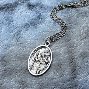 Personalized Silver Plated Saint Christopher Necklace. Patron Saint of Good Luck, Athletes, Travelers, and Sports