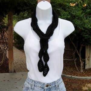 Women's Black Skinny Spiral SUMMER SCARF Small Extra Soft 100% Acrylic Twisted Crochet Knit Narrow Thin Lightweight Solid Black Neck Tie, Ready to Ship in 3 Days