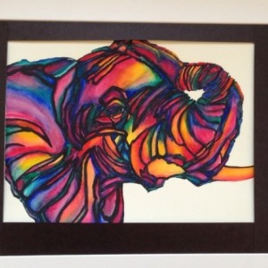 Rainbow African Elephant Watercolor
