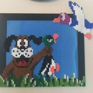 NES Duck Hunt Perler Art- Geekery- Fan art- Retro- 8bit- Sprite Art -Gamer Gift