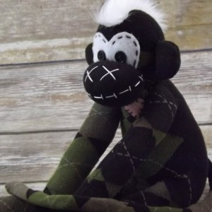 Sock monkey : Dylan ~ The original handmade plush animal made by Chiki Monkeys