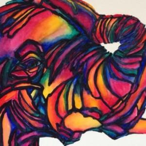 Rainbow African Elephant Watercolor