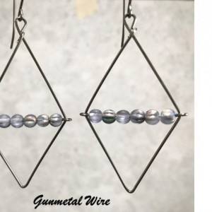 The Clarissa | handmade rhombus cutout earrings, frosted gray glass, diamond shape, AB melon beads, Czech glass, Gifts for Her