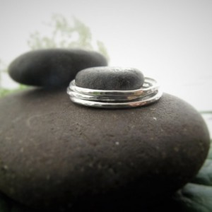 Sterling Silver Stacking Rings- Minimal, Set of Handmade Stacking Rings, Hammered Stacking Rings, Textured Stacking Rings