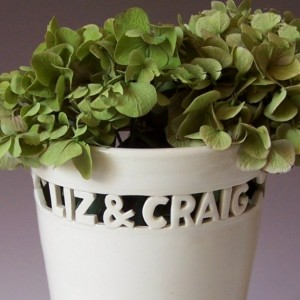 Custom Wedding Vase - Block Letters with Names & Date