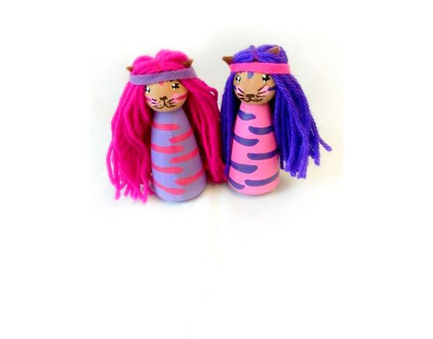 Princess Kitty Princess Dolls Kitty Doll Girls Toys Unique Peg Dolls Cat Stocking Stuffer Gift Kids Toys Wooden Doll