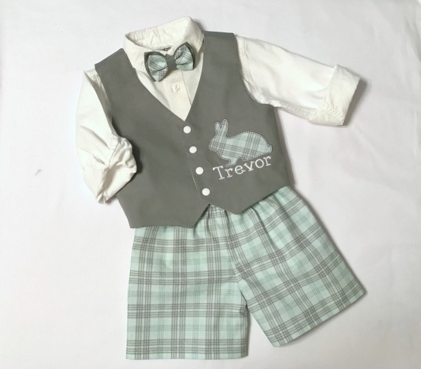 Personalized Toddler Bunny Reversible Plaid and Grey Vest with Bow Tie with Shorts and Optional Newsboy Cap