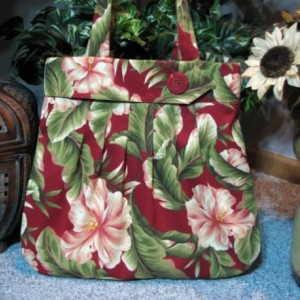 Red Floral Fabric Hobo Handbag with zippered pocket