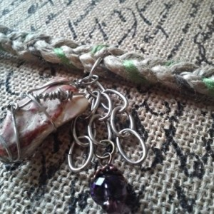 Braided Wool Yarn Hemp Bracelet Wire Wrap Stone
