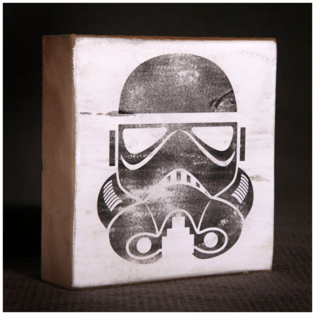 Star Wars Stormtrooper Reclaimed Wood Block Art Piece