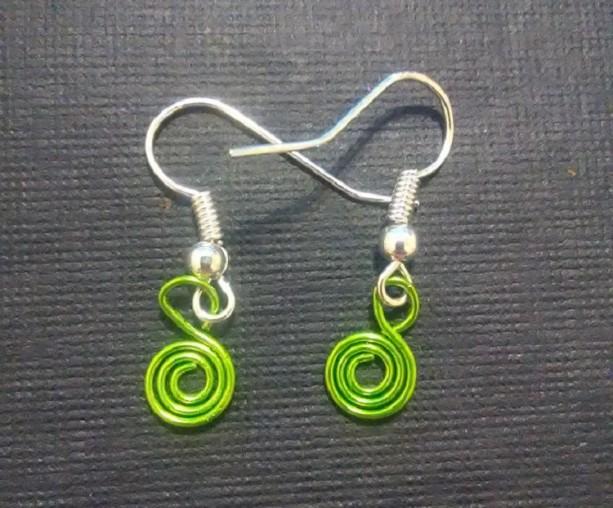 Green Tiny Swirl Charm Earrings