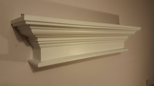 Crown molding shelf in white