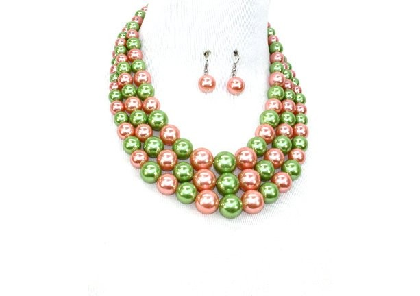 Pink and Green Pearl Alpha Kappa Alpha Inspired Multi strand Necklace Set