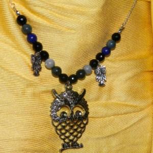 Jasper, Agate & Lapis Silver Owl Necklace E07140