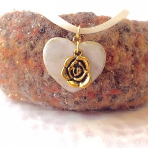 For the Love of the Craft Mixed Media Gold and White Gold Rose Heart Charm Pendant