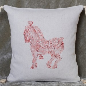 "16"" x 16"" Percheron Horse Pillow! Decorative hand stamped copper color horse canvas pillow cover with tassels"
