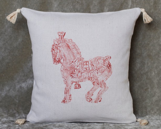 """16"""" x 16"""" Percheron Horse Pillow! Decorative hand stamped copper color horse canvas pillow cover with tassels"""