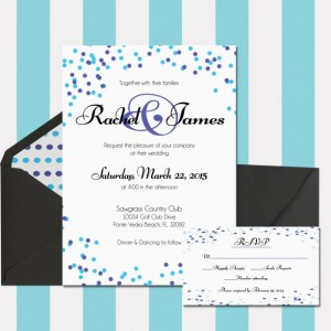 Polka Dot Wedding Invitation, Blue and Purple, Confetti Invitation, Fun and Modern, Digital Invitation, Customized, Printable Invitation