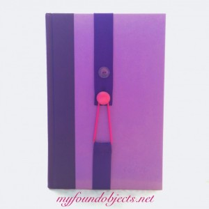 Bookmark, Purple Ribbon & Vintage Dark Pink Button