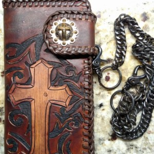 Tooled Cross leather wallet