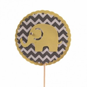 Yellow & Gray Chevron Elephant Cupcake Topper - Set of 12