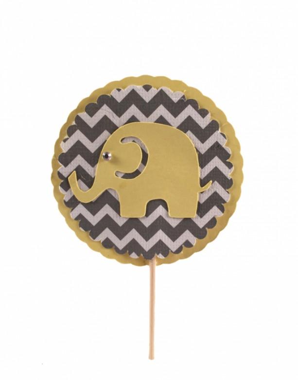 Yellow & Gray Chevron Elephant Cupcake Topper - Set of 12