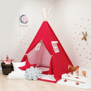 Red with White Mini Stars Kids Teepee Set
