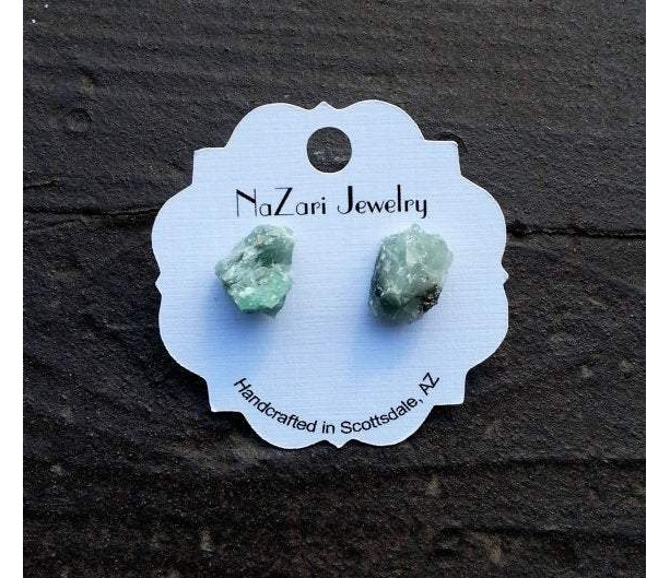 RAW EMERALD STONE EARRINGS
