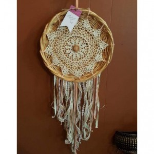 White and Peach Lace Dream Catcher