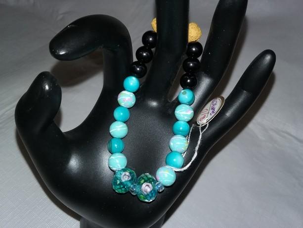 Aqua Spiral Pattern Glass Beads w/Lava Stone Diffuser Bracelet