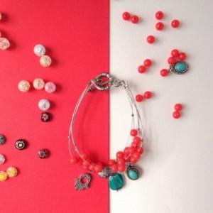 Six strand tiger tail bracelet; Pink bracelet; Boho jewelry