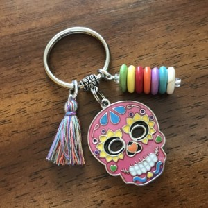 Sugar Skull Keychain, Sugar Skull Key Ring, Day of the Dead, Dia De Los Muertos, Calavera, Bag Charm, Purse Charm, Skull, Gift for Her