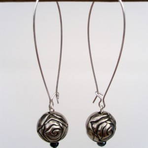 Silver Rose Long Earrings