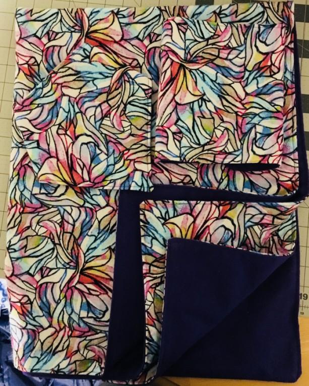 Hand-Made Baby Blanket, Burp Cloth, and Bandana-style Bib