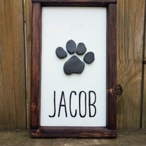 Paw Print Wood Sign