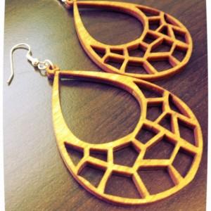Wooden Abstract Giraffe Print Dangle Earrings - FREE US SHIPPING
