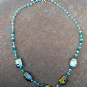 Necklace - Aqua and Golden Yellow Crystals and Muti Colored Foil Bead