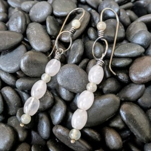 Extra long earrings - Natural Rose Quartz and Serpentine - Sterling Silver - dangle earrings