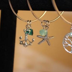Nautical Bangle - Dangle Bracelets - with beads