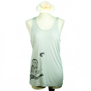 Coffee Owl Oversized Viscose Tank Top, Grey Taupe, Screen Printed, Illustration, Men Women, Unisex - Gifts for Him or Her