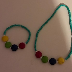 Kids Jewelry Set Blue Glass And Multi Colored Acrylic Beads