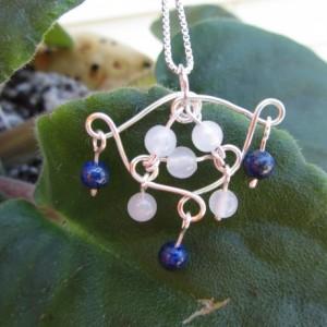 Lapis Lazuli Pendant, Lapis Pendant, Quartz Pendant, Lapis necklace, Quartz Necklace