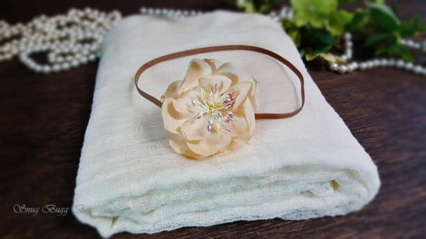 Sweet Elegant Ivory Cream Cheesecloth & Flower Headband Wrap Set